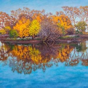Autumn on South Pond by Fiona Craig. Oil Painting showing Landscape.