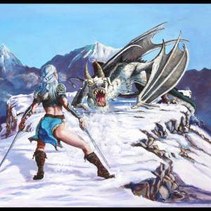 Snow Dragon by Mark Anderson. Oil Painting showing Fantasy.