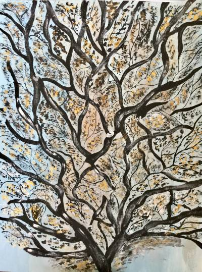 Winter tree by Sushree Choudhary. Acrylic showing Abstract.