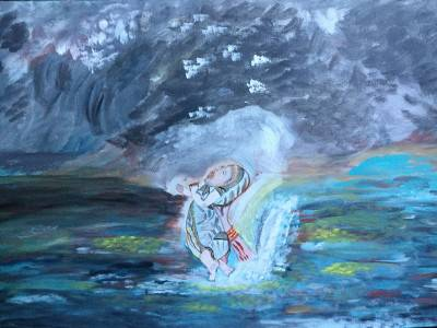 The begining by Sushree Choudhary. Acrylic showing Fantasy.