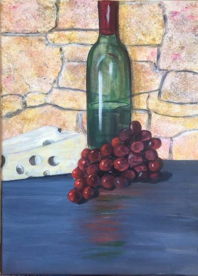 Bring Out The Wine by Shawn Phalen. Acrylic showing Food/Objects.