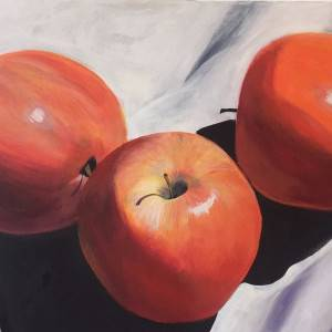 Apple On A Tablecloth by Shawn Phalen. Acrylic showing Food/Objects.