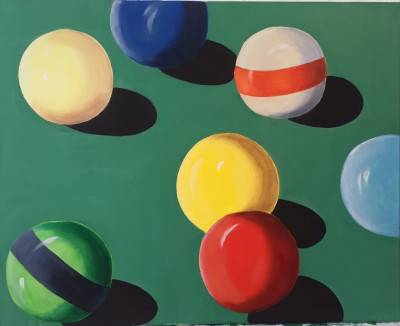 Cue Balls On A Pool Table by Shawn Phalen. Mixed Medium showing Sports.