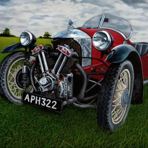 My fathers Memories - Three Wheeler Morgan by DEBRA TONGE. Oil Painting showing Landscape.