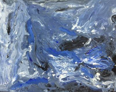Blue river by Sushree Choudhary. Acrylic showing Abstract.
