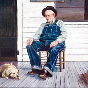 On the porch by Mark Anderson. Oil Painting showing Portrait.