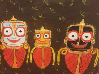 Lord Jagannath with brother Nd sister by Sushree Choudhary.