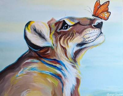 Lioness and Butterfly