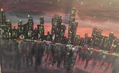 City scape by Sushree Choudhary. Acrylic showing Abstract.