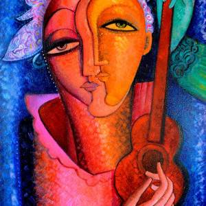 Guitar Player by Anoushavan Hovakimian. Oil Painting showing Portrait.